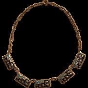 Vintage Art Deco Dark & Light Blue Matte Enamel Necklace