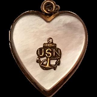 Vintage World War II Era US Navy Mother of Pearl Sweetheart Heart Locket Pendant