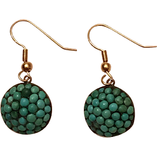 Antique Victorian Pave Turquoise Silver Gilt Dangle Earrings