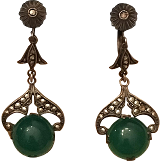 Vintage Art Deco Sterling Silver Chrysoprase & Marcasite Dangle Earrings