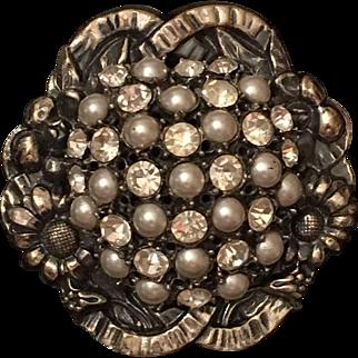 Vintage Signed Hattie Carnegie Imitation Faux Pearl & Rhinestone Flower Brooch