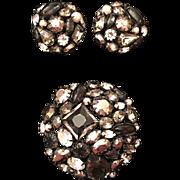 Vintage Schreiner Black & Gray Rhinestone Imitation Faux Pearl Brooch & Earring Set