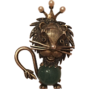 Vintage German Sterling Aventurine Marcasite Cultured Pearl Lion With Crown Brooch Pin