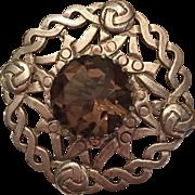 Vintage Scottish Sterling Silver Smoky Quartz Celtic Design Brooch