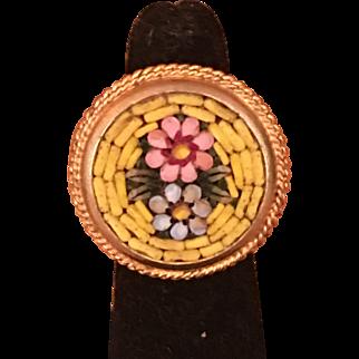 Vintage Micro Mosaic Flower Adjustable Ring