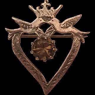 Vintage Scottish Sterling Silver Smoky Quartz Love Bird Heart Crown Luckenbooth Brooch