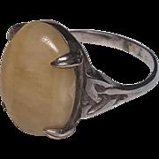 Vintage Scottish Sterling Silver Marble Celtic Knot Design Ring
