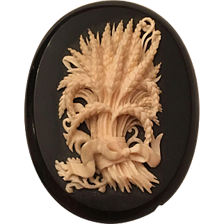 Large Antique Victorian Carved Ox Bone Bouquet of Wheat on Jet Mourning Brooch