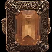 Vintage Art Deco Theodor Fahrner German Gilt Sterling Silver, Marcasite & Gold Topaz Ring