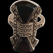 Vintage Art Deco German Sterling Silver Onyx & Marcasite Ring