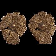 Vintage Theodor Fahrner German Sterling Silver Flower Shaped Clip Earrings