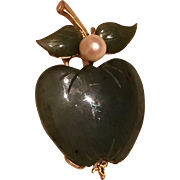 Vintage Swoboda Inc Jadeite & Cultured Pearl Apple Brooch Pin
