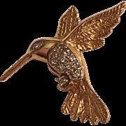 Vintage 14k Yellow Gold Diamond Hummingbird Brooch Pin