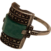 Vintage Art Deco 935 Sterling Silver Faceted Amazonite & Marcasite Ring