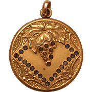 Antique Victorian Grape Design Paste Rhinestone Gold Filled Pendant