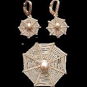 Vintage Sterling Silver & Cultured Pearl Spider On Web Brooch & Earrings Set