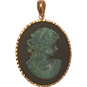 Vintage 18k Yellow Gold Onyx & Carved Opal Cameo Pendant