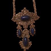 Antique Art Nouveau 800 Silver Filigree Lapis Necklace