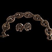Vintage Niels Erik From Sterling Silver Horseshoe & Flower Bracelet & Earrings Set
