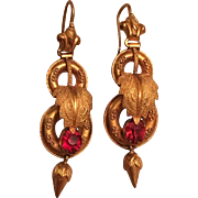 Antique Victorian 10k Gold & Garnet Paste Leaf Design Earrings