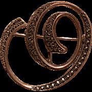Vintage German Sterling Silver & Marcasite Swirl Brooch