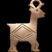 Vintage Taxco Mexican Sterling Silver Reindeer Brooch