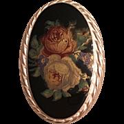Vintage German Kordes & Lichtenfels Sterling Silver Enamel Rose Pendant Brooch