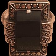 Vintage German Art Deco Sterling Silver Marcasite & Onyx Ring