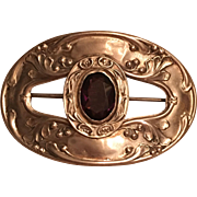 Antique Art Nouveau Sterling Front Purple Paste Sash Pin Brooch