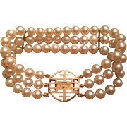 Vintage Ming's of Honolulu Triple Strand Cultured Pearl Bracelet With 14k Clasp