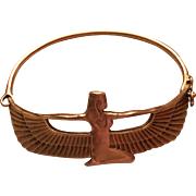 Vintage 935 Silver Egyptian Winged Goddess Bracelet