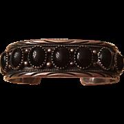 Vintage Native American Sterling Silver Onyx Cabochon Cuff Bracelet