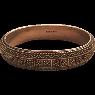Antique Georg Adam Scheid Austrian 800 Silver Flower Design Hinged Bangle Bracelet