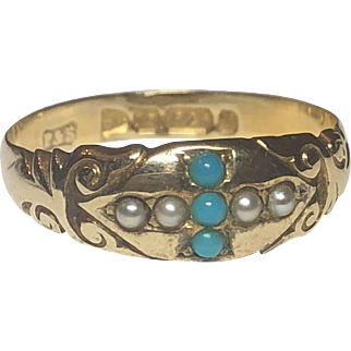 Antique Victorian English 15k Gold Turquoise & Seed Pearl Cross Ring