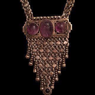 Vintage German Art Deco Gustav Hauber 800 Silver Amethyst Egyptian Revival Scarab Necklace