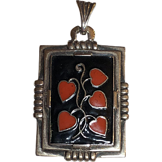 Vintage Art Deco 935 Silver Enamel Heart Vine Pendant