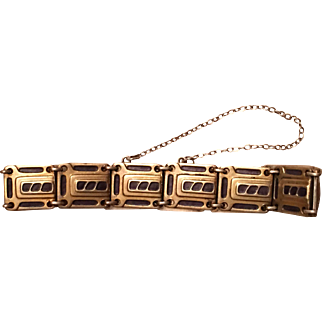 Antique Jugendstil Secessionist 900 Silver Gilt Purple Enamel Bracelet
