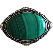 Antique Jugendstil Meyle & Mayer German 935 Silver Malachite Brooch