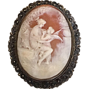 Antique 800 Silver Filigree Goddess & Cherub Carved Shell Cameo Brooch