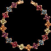 14k Yellow Gold Citrine, Topaz, Peridot, and Amethyst Gemstone Flower Bracelet