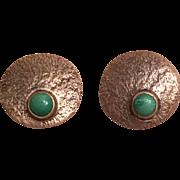 Vintage Mid Century Modern Gustav Hauber German 835 Silver Turquoise Clip On Earrings