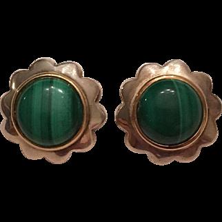 Vintage Tiffany & Co Sterling Silver & 18k Malachite Flower Clip On Earrings
