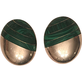 Vintage Taxco Mexico Sterling Silver Malachite Inlaid Clip On Earrings