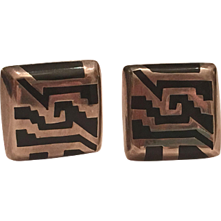 Vintage Taxco Mexico Sterling Silver Onyx Inlaid Clip On Earrings