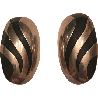 Vintage Taxco Mexico GHM Sterling Silver Onyx Inlay Clip On Earrings