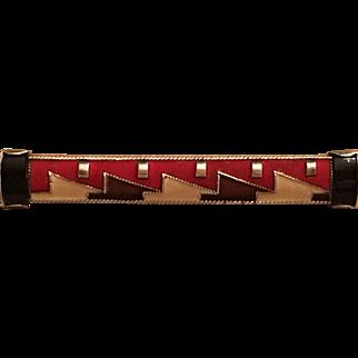 Vintage Art Deco Theodor Fahrner German 935 Red, Brown, Beige Enamel & Onyx Brooch