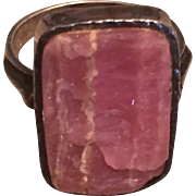 Vintage Modernist 835 Silver Rhodochrosite Ring
