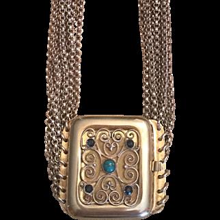 Antique Jugendstil German Gustav Hauber 835 Seven Stranded Choker Necklace With Turquoise & Blue Glass Gilded Clasp