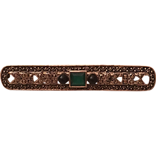 Vintage Art Deco Sterling Silver Chrysoprase, Onyx, and Marcasite Brooch