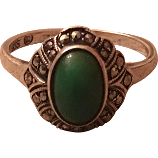 Vintage Art Deco 935 Sterling Silver Turquoise & Marcasite Ring